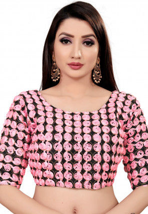 Embroidered Art Silk Blouse in Pink and Black