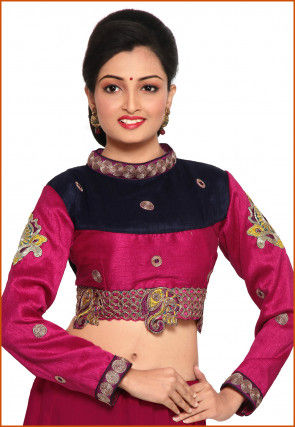 Embroidered Art Silk Blouse in Pink and Navy Blue