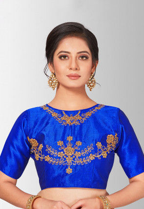 Embroidered Art Silk Blouse in Royal Blue