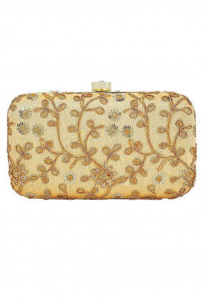 Embroidered Art Silk Box Clutch in Beige