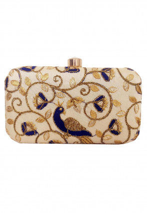 Embroidered Art Silk Box Clutch in Light Beige