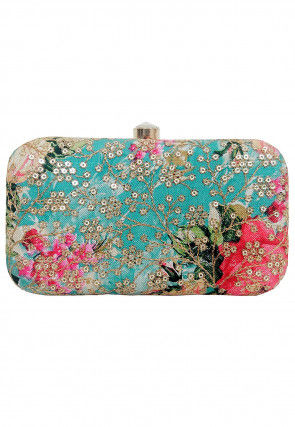Embroidered Art Silk Box Clutch in Turquoise