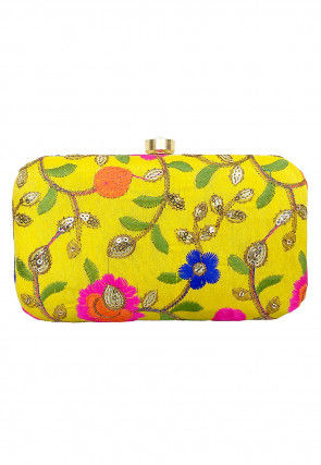 Embroidered Art Silk Box Clutch in Yellow