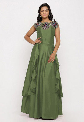 Embroidered Art Silk Cascade Pleated Gown in Dusty Green