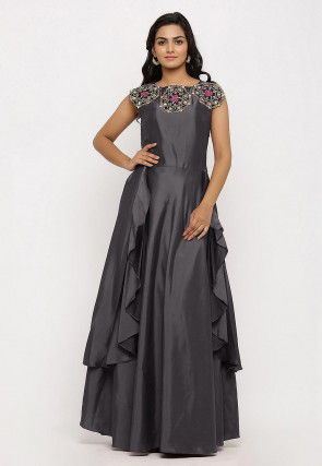 Embroidered Art Silk Cascade Pleated Gown in Grey