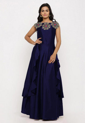 Embroidered Art Silk Cascade Pleated Gown in Navy Blue