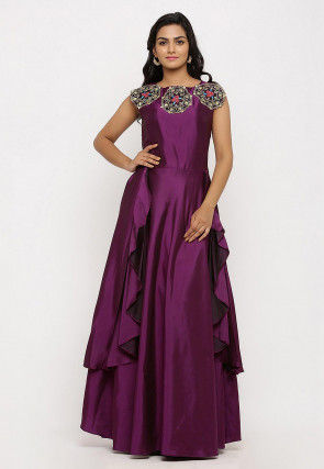 Embroidered Art Silk Cascade Pleated Gown in Purple
