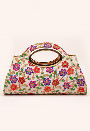 Embroidered Art Silk Clutch Bag in White