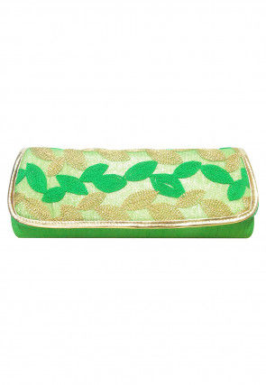 Embroidered Art Silk Clutch Cum Sling Bag in Green