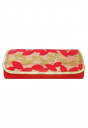 Embroidered Art Silk Clutch Cum Sling Bag in Red