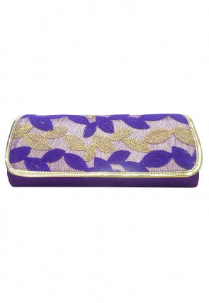 Embroidered Art Silk Clutch Cum Sling Bag in Violet