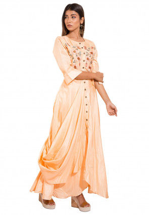 Embroidered Art silk Cowl Style Gown in Light Peach