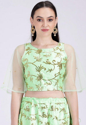 Embroidered Art Silk Crop Top in Light Green