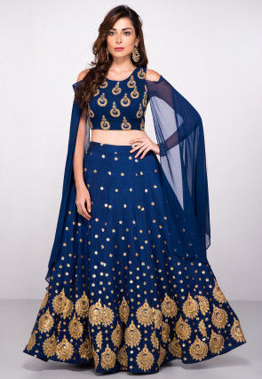 Embroidered Art Silk Crop Top N Skirt in Dark Blue