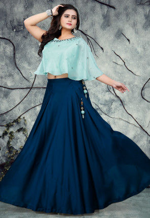 Embroidered Art Silk Crop Top with Skirt in Light Sky Blue and Blue