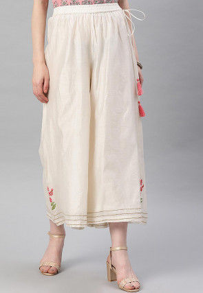 Embroidered Art Silk Culottes in Off White