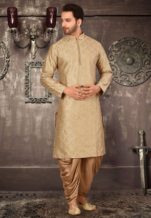Embroidered Art Silk Dhoti Kurta in Beige