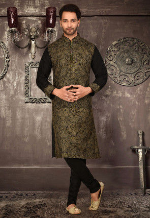 Embroidered Art Silk Dhoti Kurta in Black