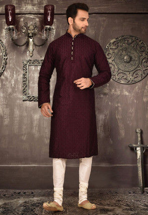 Embroidered Art Silk Dhoti Kurta in Dark Maroon