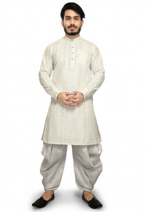 Embroidered Art Silk Dhoti Kurta in Off White