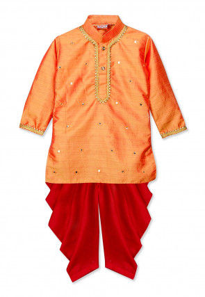 Embroidered Art Silk Dhoti Kurta in Orange
