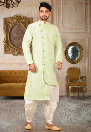 Embroidered Art Silk Dhoti Kurta in Pastel Green