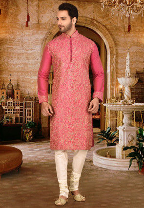 Embroidered Art Silk Dhoti Kurta in Pink