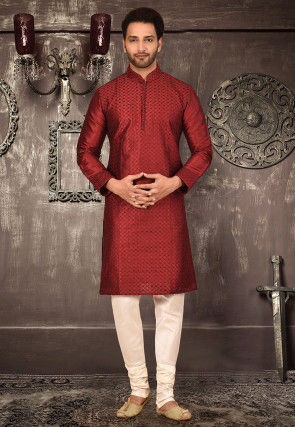 Embroidered Art Silk Dhoti Kurta in Red