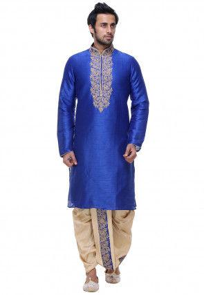 Embroidered Art Silk Dhoti Kurta in Royal Blue