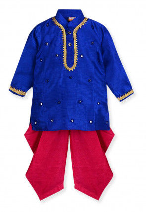 Embroidered Art Silk Dhoti Kurta in Royal Blue