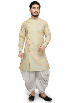 Embroidered Art Silk Dhoti Kurta in Turquoise and Beige