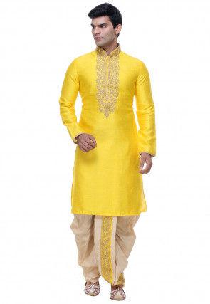 Embroidered Art Silk Dhoti Kurta in Yellow