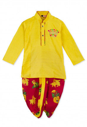 Embroidered Art Silk Dhoti Kurta in Yellow