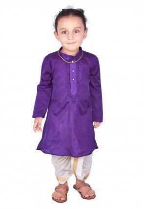 Embroidered Art Silk Dhoti Kurta Set in Purple