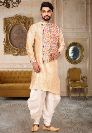 Embroidered Art Silk Dhoti Sherwani in Beige and Multicolor