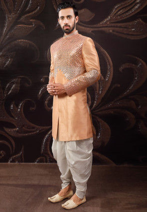 Embroidered Art Silk Dhoti Sherwani in Peach