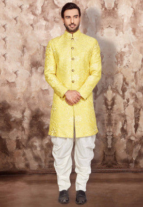 Embroidered Art Silk Dhoti Sherwani in Yellow