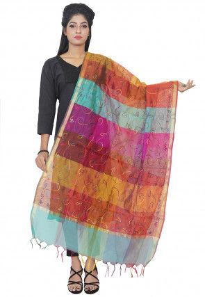 Embroidered Art Silk Dupatta in Multicolor
