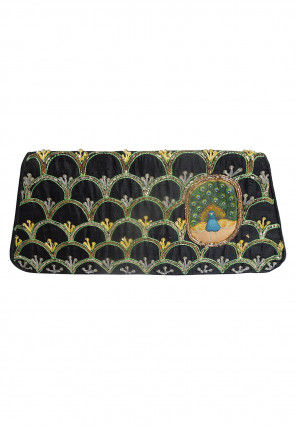 Embroidered Art Silk Envelope Clutch Bag in Black