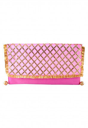 Embroidered Art Silk Envelope Clutch Bag in Pink