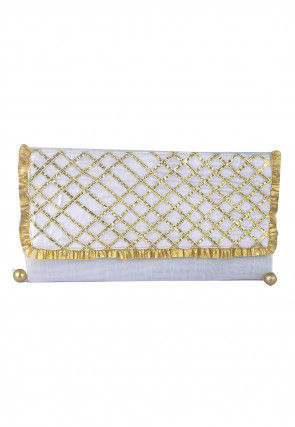 Embroidered Art Silk Envelope Clutch Bag in White