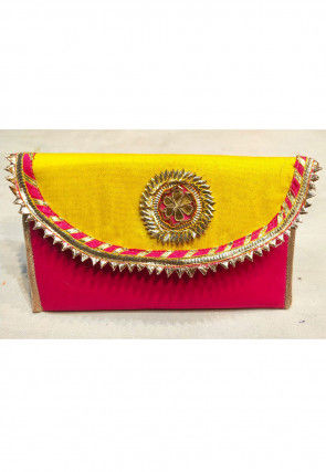 Embroidered Art Silk Envelope Clutch Bag in Yellow and Fuchsia
