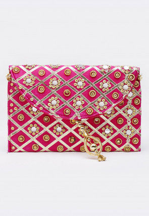 Embroidered Art Silk Envelope Clutch Cum Sling Bag in Fuchsia