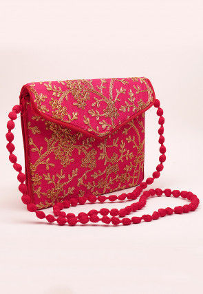 Embroidered Art Silk Envelope Cum Sling Bag in Fuchsia
