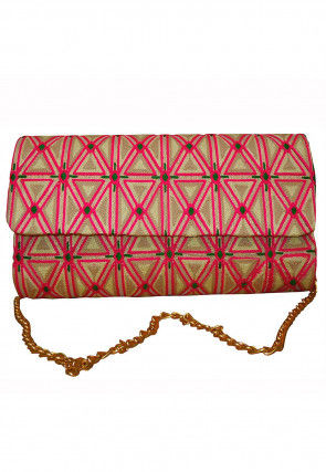 Embroidered Art Silk Flap Clutch Bag in Beige and Pink