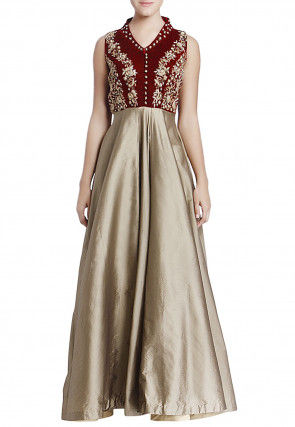 Embroidered Art Silk Flared Gown in Beige and Maroon