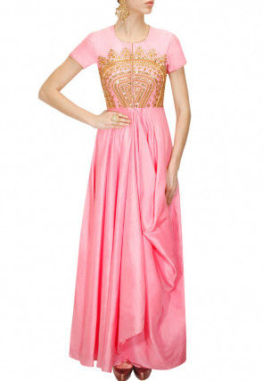 Embroidered Art Silk Flared Gown in Pink