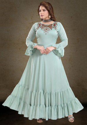 Embroidered Art Silk Flared Gowns in Sea Green