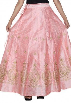 Embroidered Art Silk Flared Skirt in Light Peach
