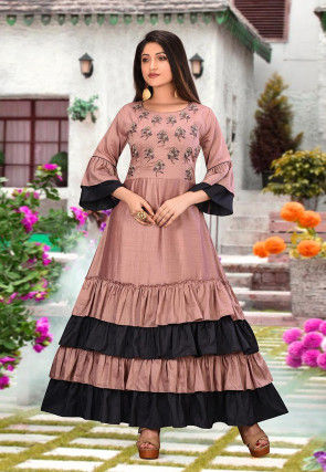 Embroidered Art Silk Flounced Gown in Pink and Black